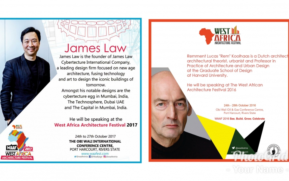 James Law (2017) selected to follow Rem Koolhaas (2016) as West Africa Architecture Festival 2017 Keynote