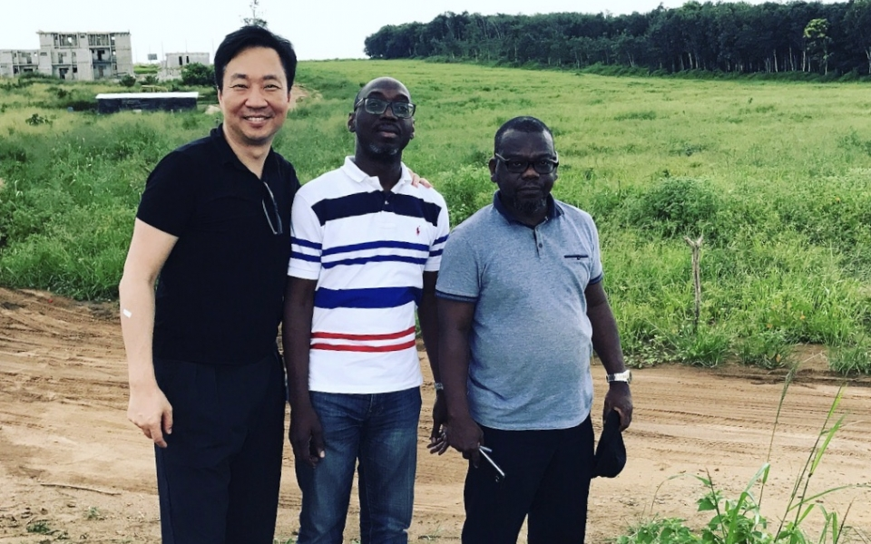 James Law visits site of first African project to be designed by James Law Cybertecture in Côte D'Ivoire