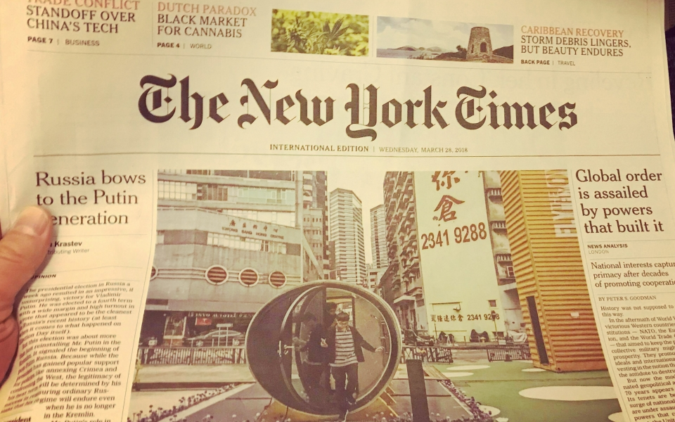 New York Times front page features James Law's OPod Tube House