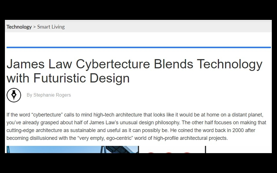 Innovative Design website Dornob covers James Law and James Law Cybertecture